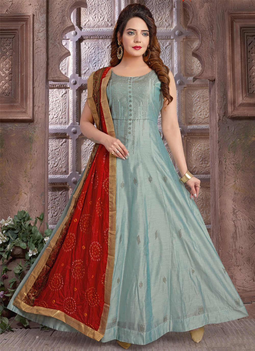 Chanderi Fancy Blue Floor Length Anarkali Suit