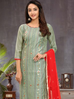 Chanderi Fancy Churidar Salwar Kameez