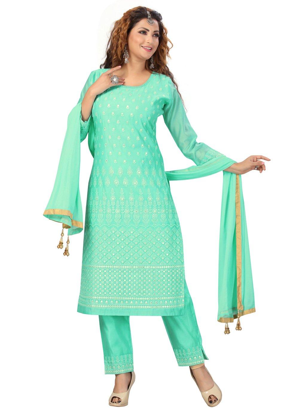Chanderi Fancy Firozi Readymade Suit