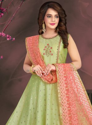 Chanderi Fancy Green Readymade Suit
