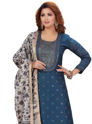 Chanderi Fancy Pant Style Suit in Blue