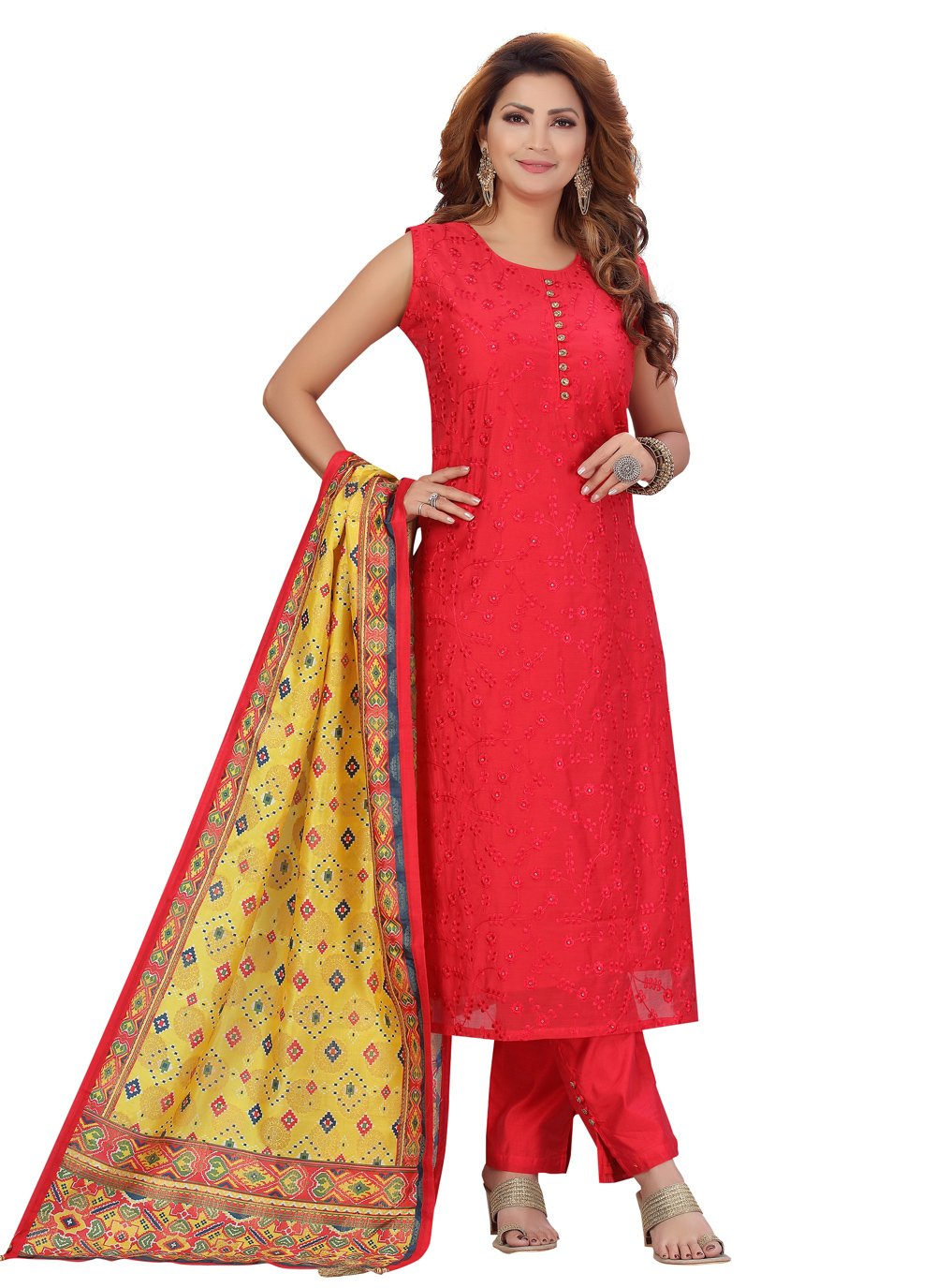 Chanderi Fancy Pant Style Suit in Red