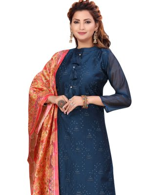 Chanderi Fancy Readymade Suit in Blue