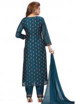 Chanderi Fancy Readymade Suit in Blue