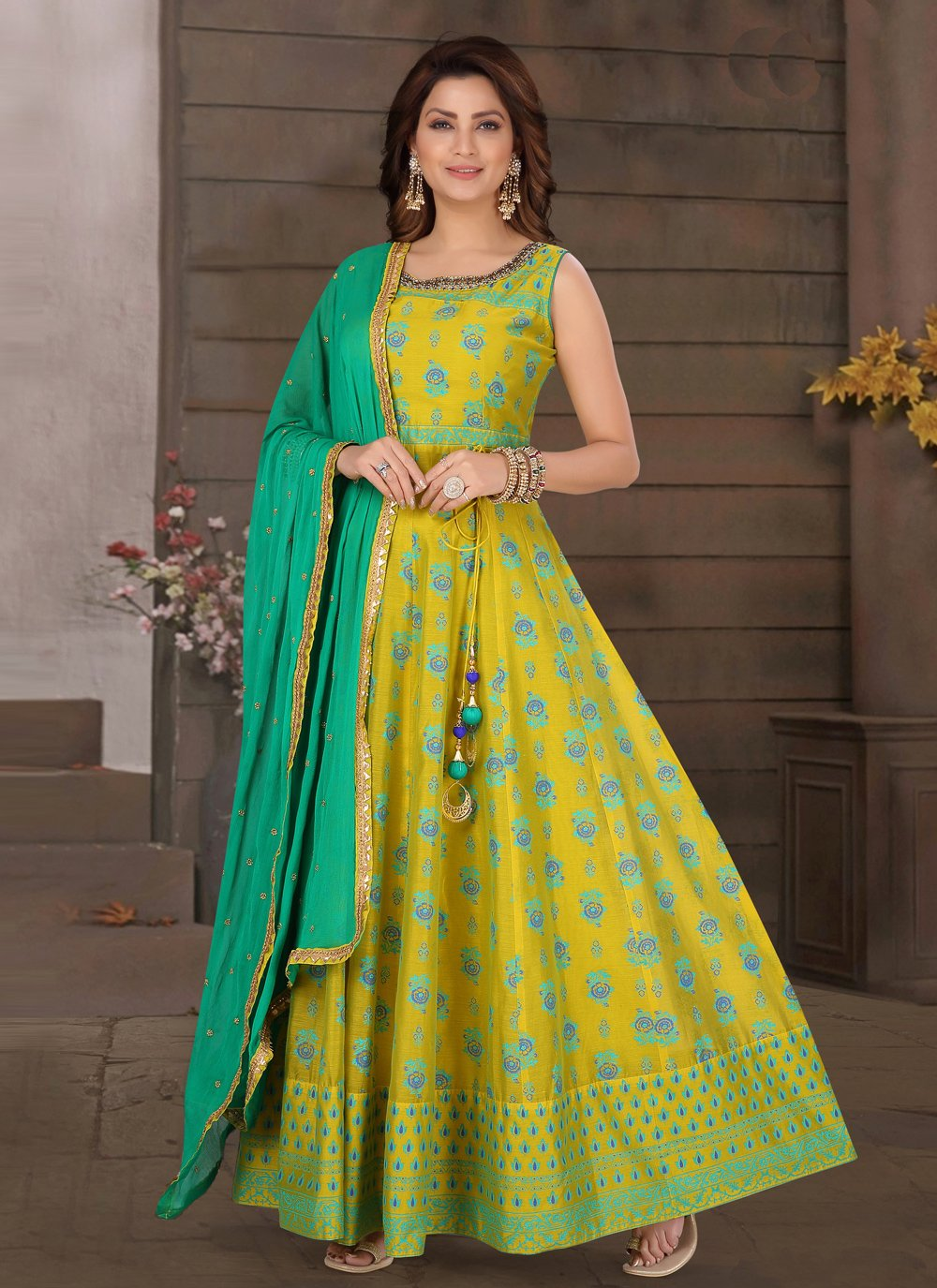 Chanderi Fancy Readymade Suit in Green and Yellow