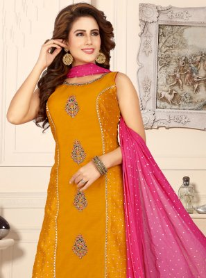Chanderi Fancy Readymade Suit in Mustard