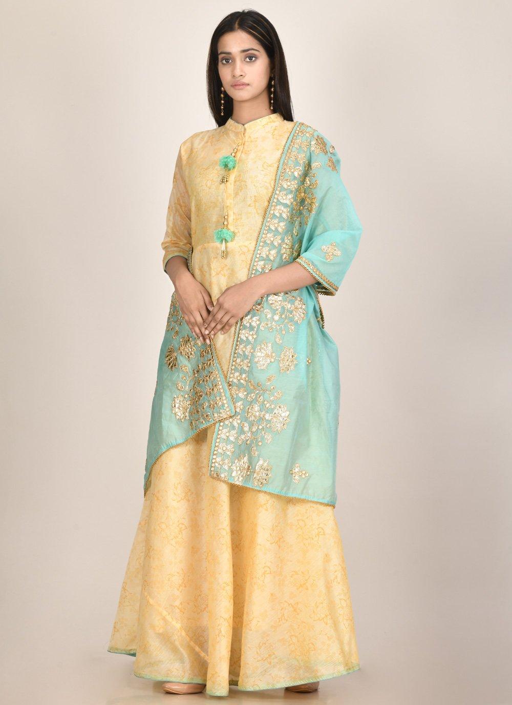 Chanderi Fancy Yellow Designer Kurti