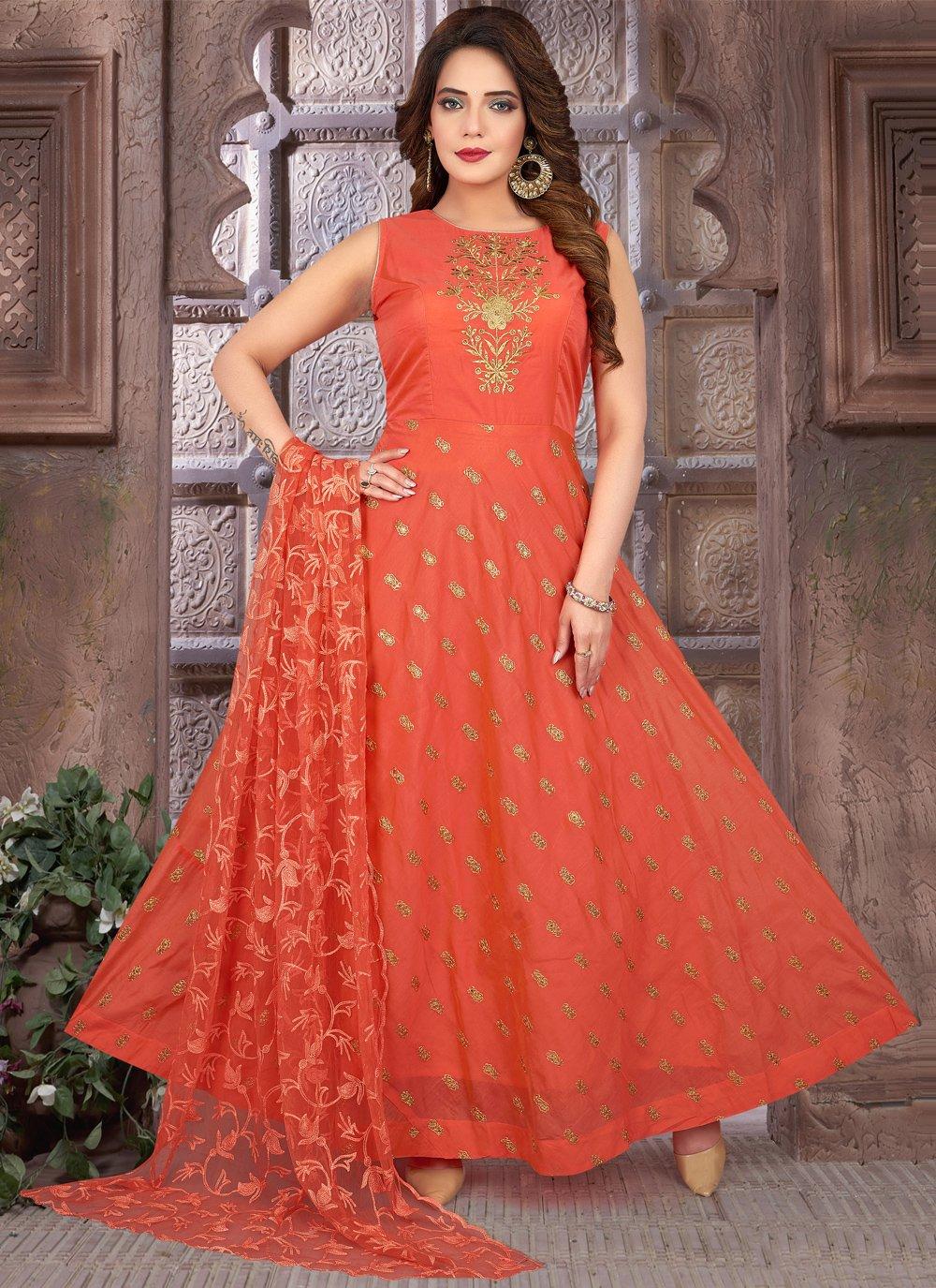 Chanderi Floor Length Anarkali Suit