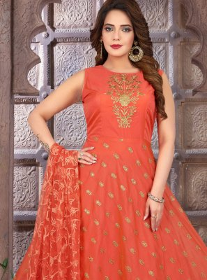 Chanderi Floor Length Anarkali Suit