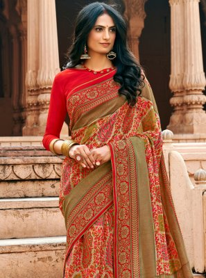 Chanderi Floral Print Multi Colour Printed Saree
