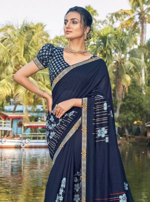 Chanderi Foil Print Blue Printed Saree