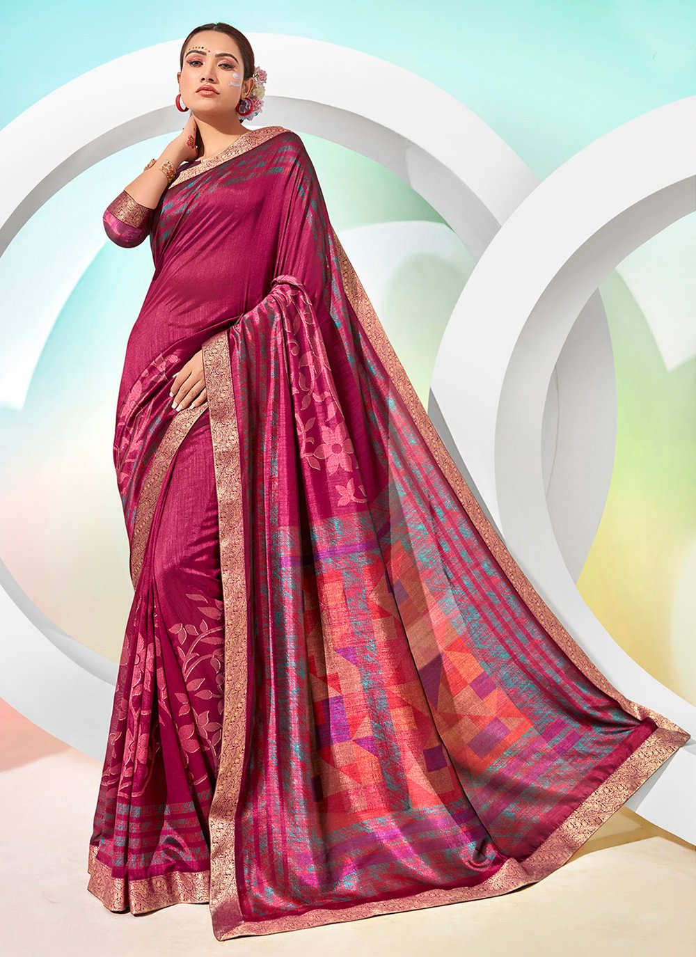 Chanderi Foil Print Magenta Traditional Saree