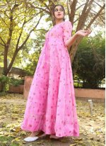 Chanderi Foil Print Pink Readymade Gown