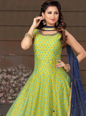 Chanderi Green Embroidered Readymade Suit