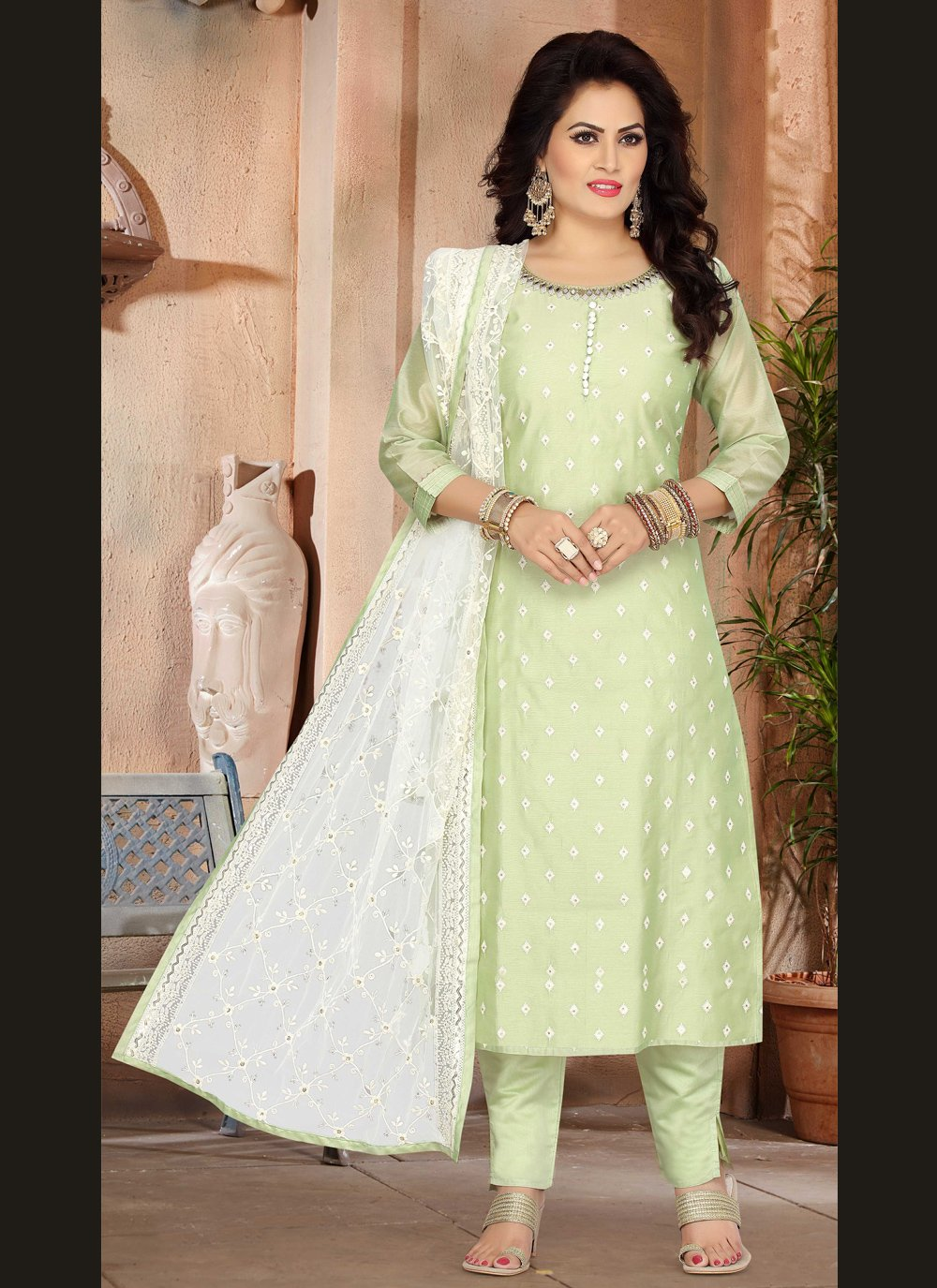 Chanderi Green Fancy Designer Suit