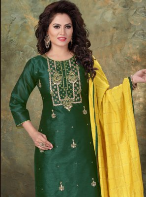 Chanderi Green Readymade Suit