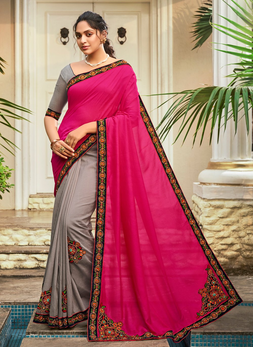 Chanderi Grey and Hot Pink Patchwork Half N Half Designer Saree