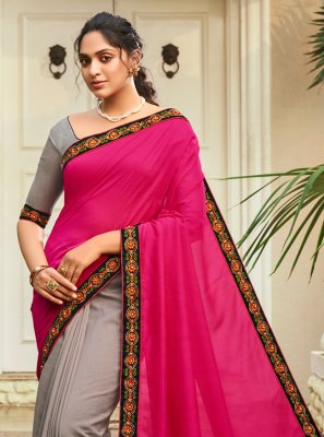 Chanderi Grey and Hot Pink Patchwork Half N Half Designer Saree