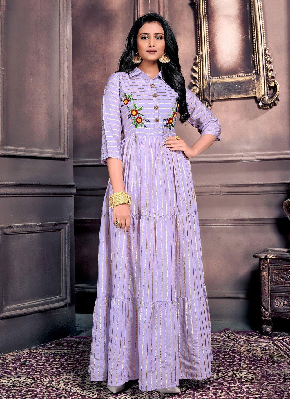 Chanderi Lavender Embroidered Party Wear Kurti