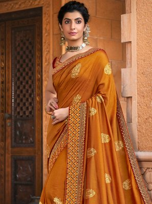 Chanderi Mustard Designer Traditional Saree