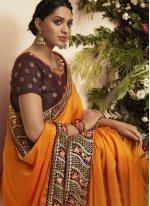 Chanderi Mustard Embroidered Traditional Saree