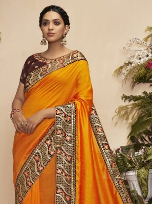 Chanderi Mustard Embroidered Traditional Saree