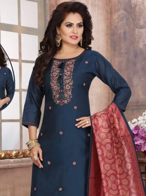 Chanderi Navy Blue Fancy Readymade Suit
