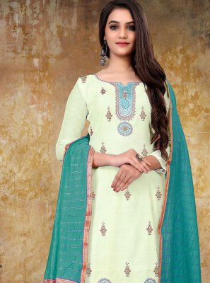 Chanderi Off White Designer Straight Suit