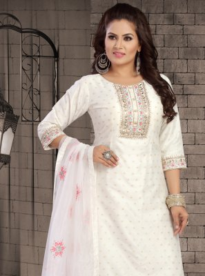 Chanderi Off White Embroidered Readymade Suit