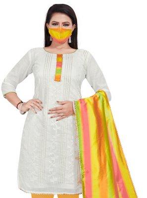 Chanderi Off White Embroidered Salwar Kameez