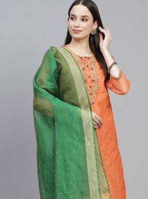 Chanderi Orange Designer Straight Suit