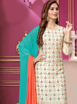 Chanderi Pant Style Suit in White