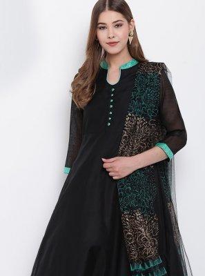 Chanderi Party Wear Kurti in Black