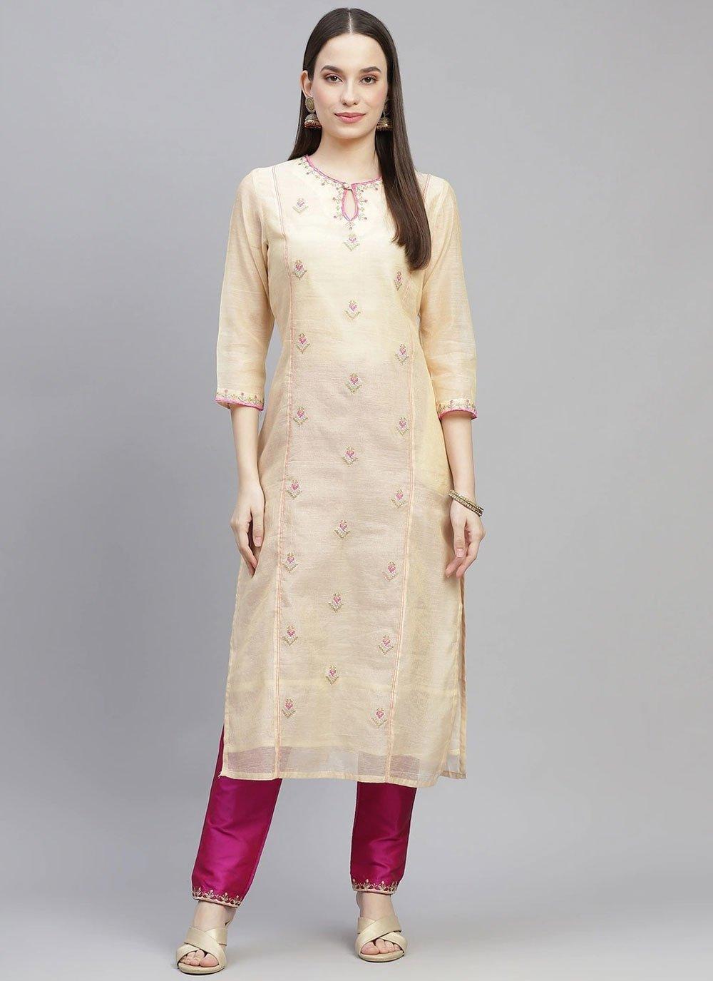 Chanderi Party Wear Kurti in Cream