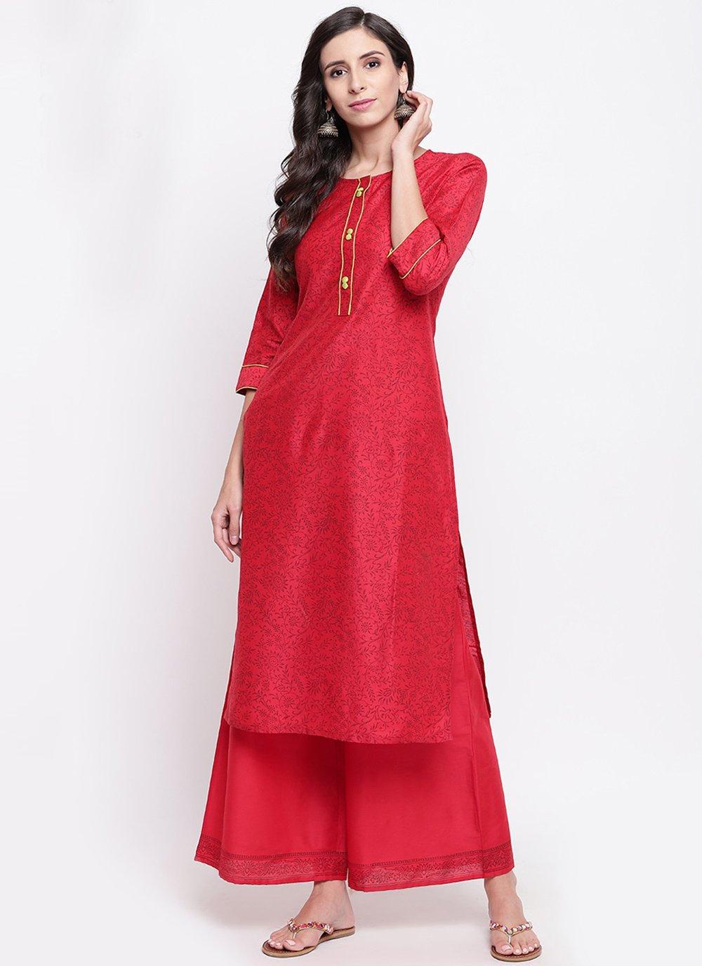 Chanderi Party Wear Kurti in Red