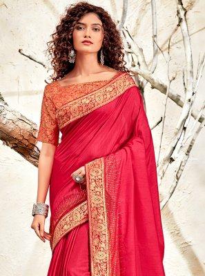 Chanderi Patch Border Designer Traditional Saree in Pink