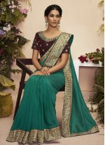 Chanderi Patch Border Traditional Designer Saree in Teal