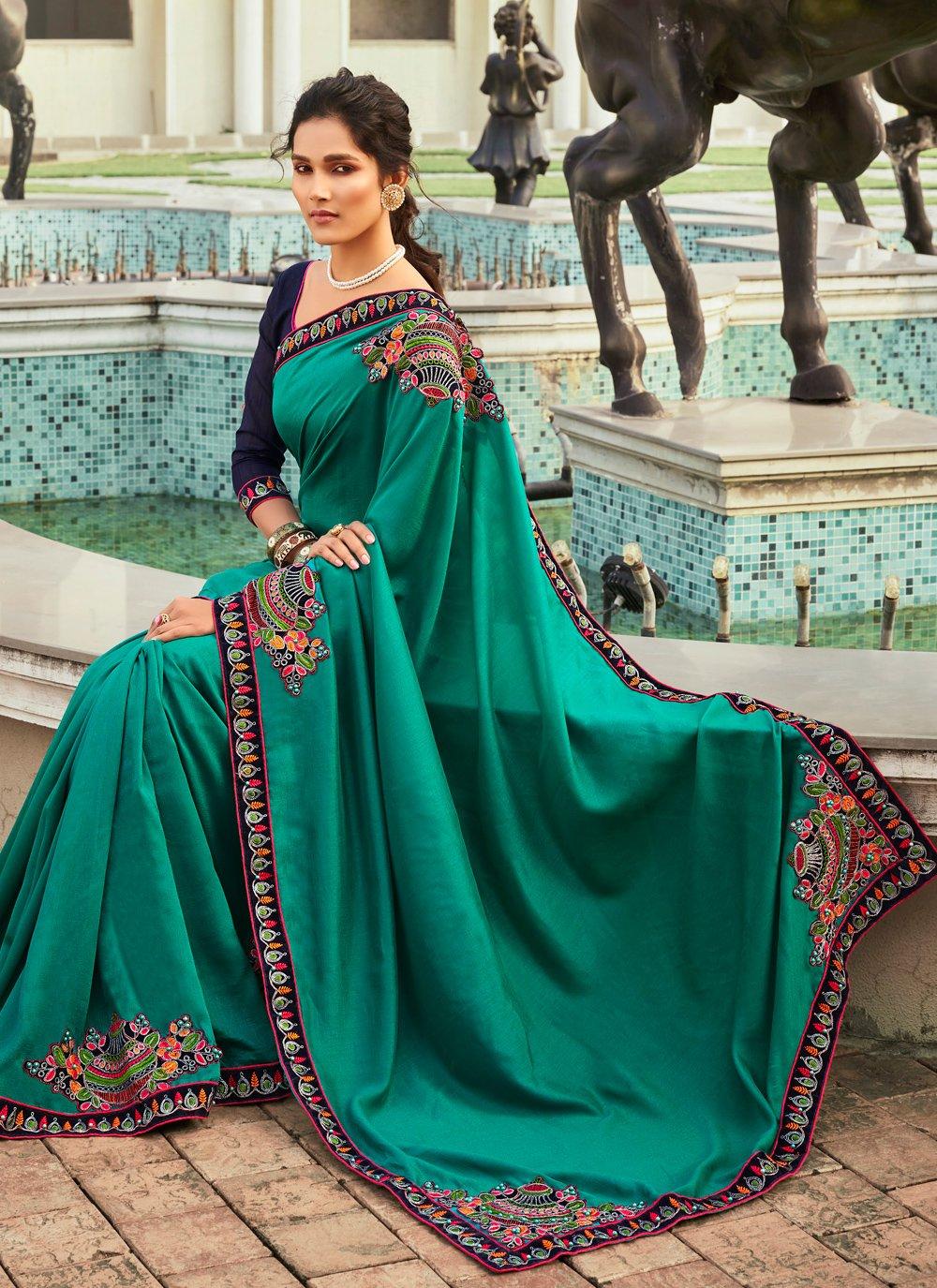 Chanderi Patchwork Teal Designer Traditional Saree