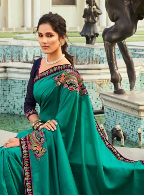 Chanderi Patchwork Teal Designer Traditional Saree