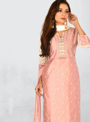Chanderi Peach Bollywood Salwar Kameez