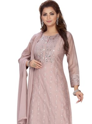Chanderi Peach Embroidered Readymade Suit