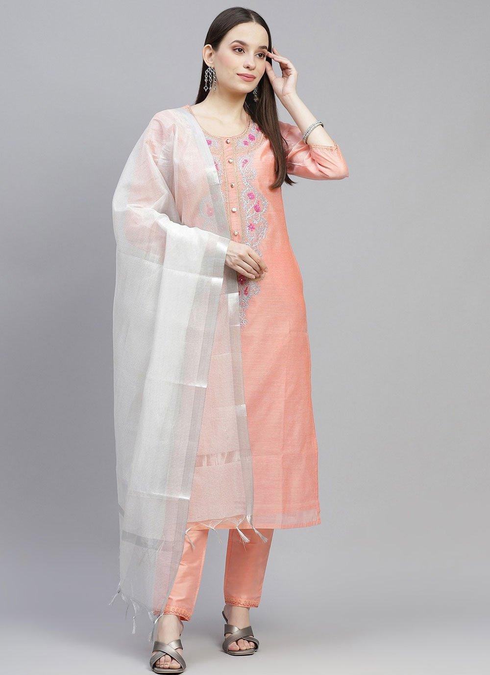Chanderi Peach Fancy Designer Straight Suit