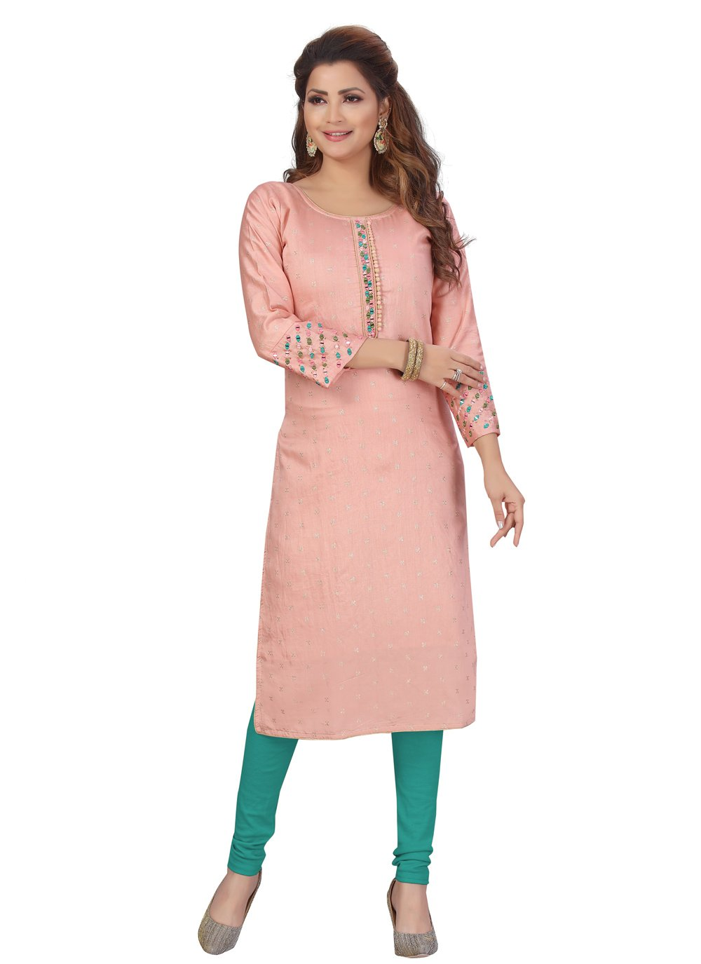 Chanderi Peach Fancy Party Wear Kurti