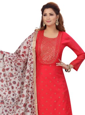 Chanderi Pink Fancy Pant Style Suit