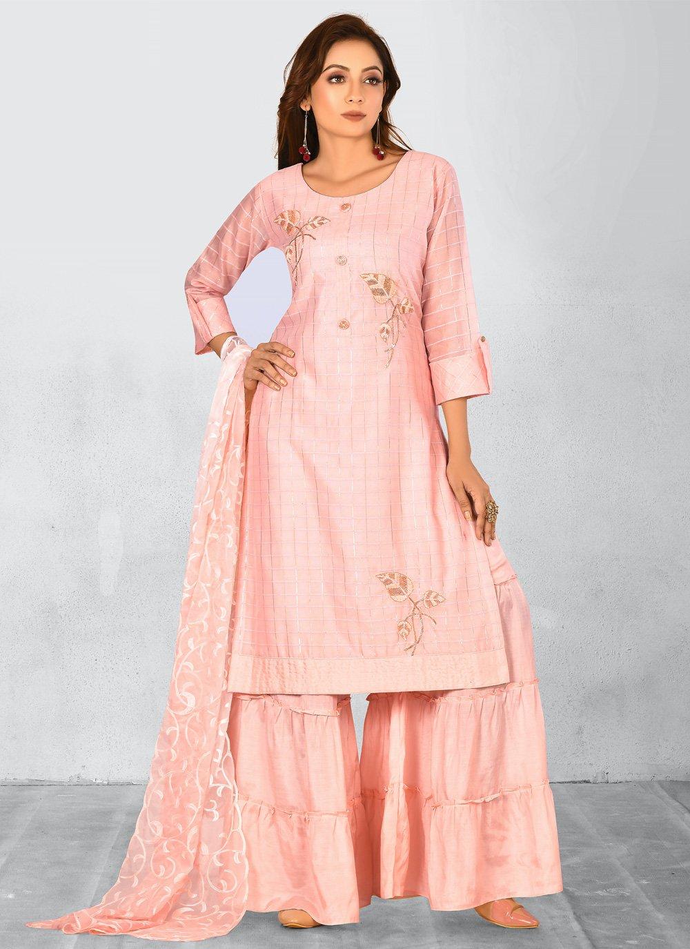 Chanderi Pink Palazzo Salwar Kameez