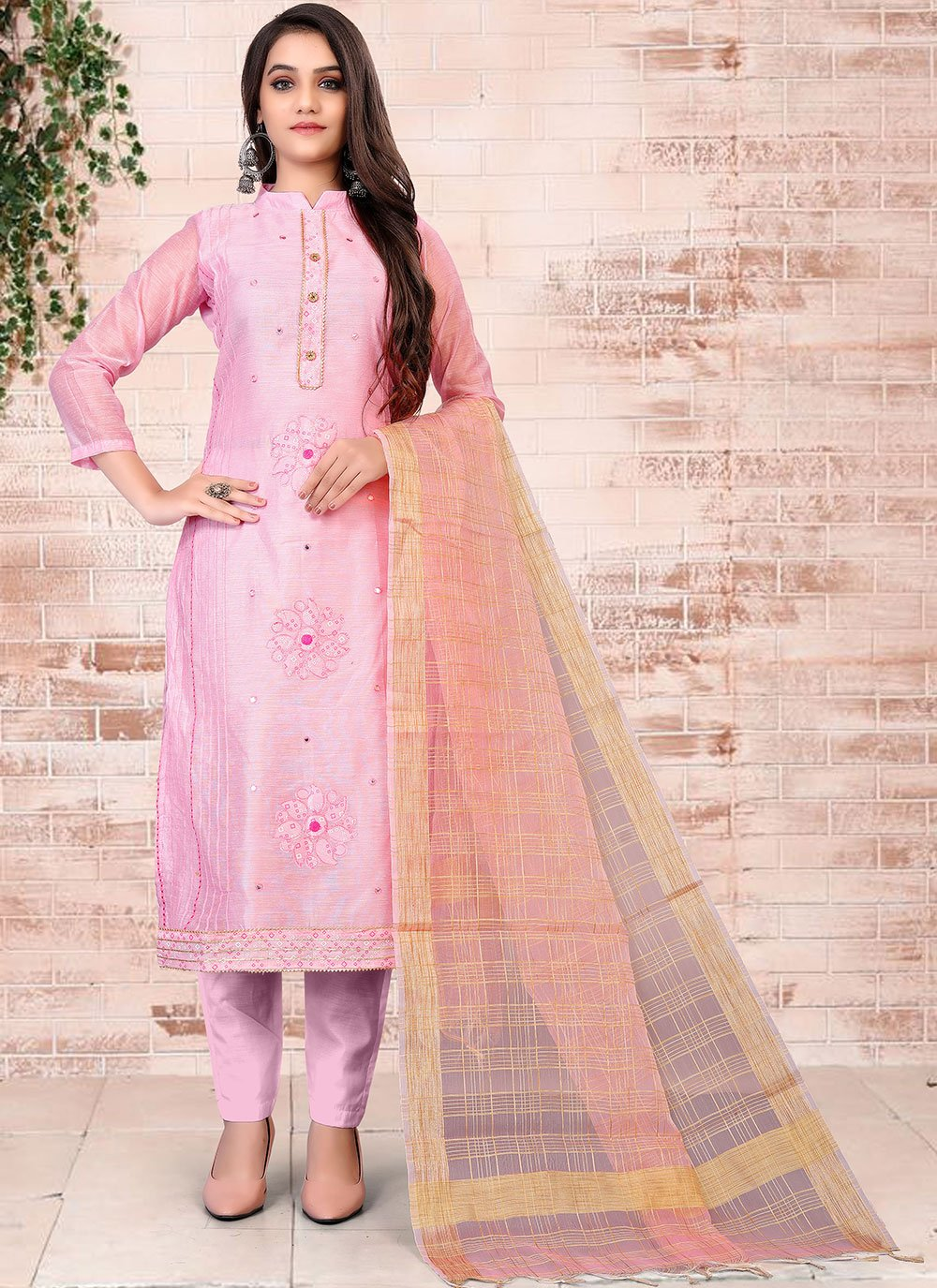 Chanderi Pink Pant Style Suit