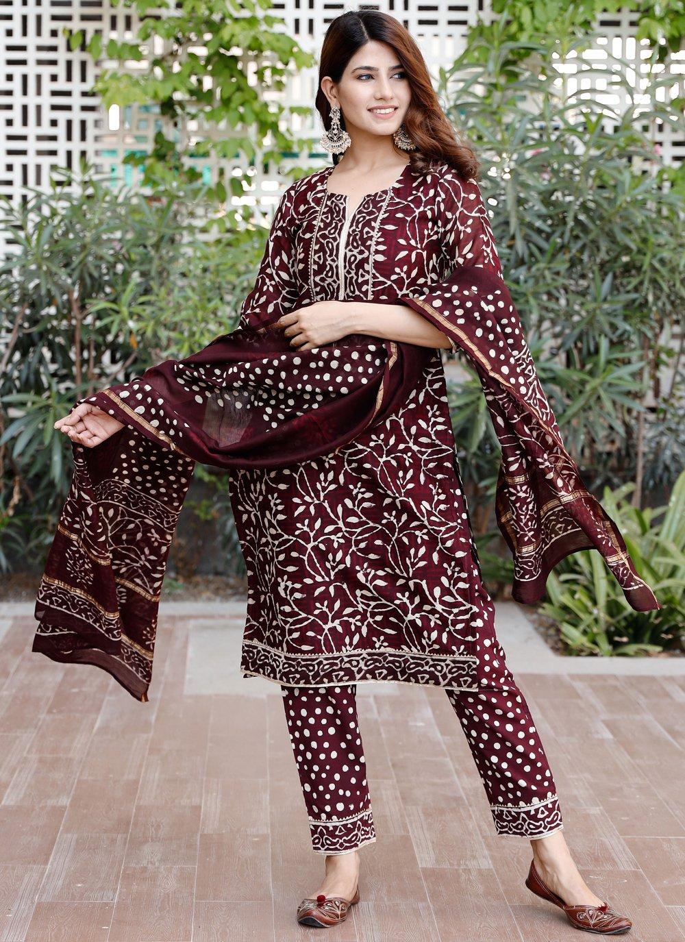 Chanderi Printed Maroon Designer Salwar Suit