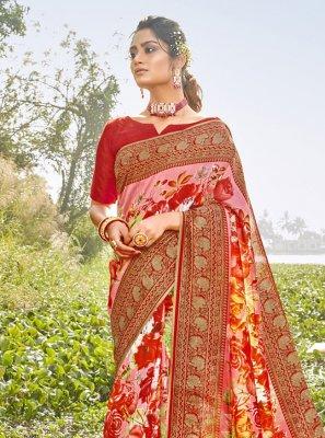 Chanderi Printed Saree in Multi Colour