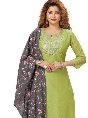 Chanderi Readymade Salwar Suit in Green