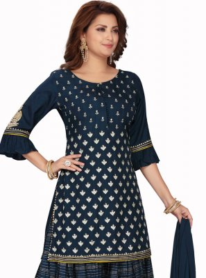 Chanderi Readymade Suit in Blue